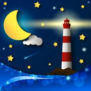 Lighthouse storm night Stock Illustration