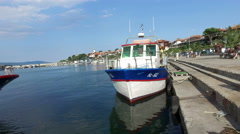 Taxi boats harbor makes tourist transportation to Sunny Beach Stock Footage