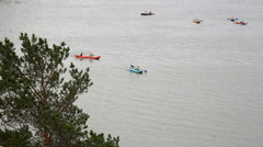 Russia, Siberia 2014: Rafting on the river boats. Kayak, canoe Stock Footage
