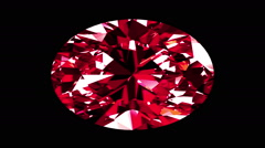Iridescent Ruby Oval Cut. Looped. Alpha Matte. 3D Animation. Stock Footage