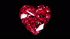 Iridescent Ruby Heart Cut. Looped. Alpha Matte. Stock Footage