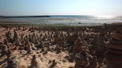 Serenity Stones With Ocean Backdrop - Vila Nova Mil Fontes Portugal Stock Footage