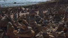 Beach Zen Garden stones - Vila Nova Mil Fontes Portugal Stock Footage