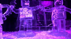 Cartoon characters made of ice is on the exhibits Stock Footage