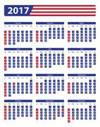 USA calendar 2017 with official holidays Stock Illustration