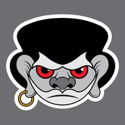 Sticker - evil pirate with red eyes and earrings Stock Illustration