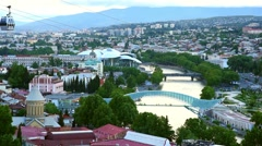 Tbilisi cableway and panorama of Tbilisi Stock Footage