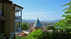 Tbilisi cableway above the Old Town Stock Footage