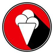 Red information icon - white ice cream Stock Illustration