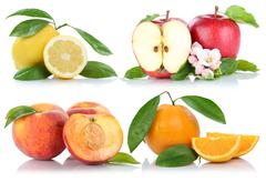 Fruits apple orange peach apples oranges collection isolated Stock Photos
