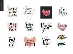 Engagement and wedding lettering Stock Illustration
