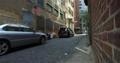 Gritty Alleyway Dolly Up Establishing Shot Stock Footage