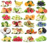 Fruits fruit collection fresh orange apple apples banana pear grapes strawber Stock Photos