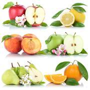 Fruits apple orange lemon peach apples oranges collection isolated Stock Photos