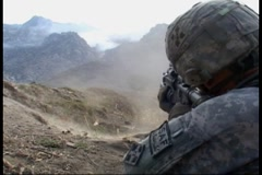 War in Afghanistan - Firefight 1 in Waterpur Valley, Afghanistan Stock Footage