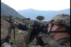 War in Afghanistan - U.S. Army firefight 2 at Qatar Kala, Kunar province Stock Footage