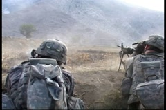 War in Afghanistan - U.S. Army Platoon firefight at Qatar Kala, Kunar province Stock Footage