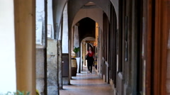 Asolo - Arcade in the old town with bells sound Arkistovideo