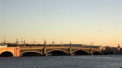 The greatest historic Trinity Bridge in the heart of St. Petersburg Stock Footage
