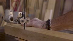 A woodworker works in his studio. Stock Footage