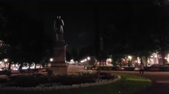 Evening at esplanadi park in, Helsinki, Finland Stock Footage
