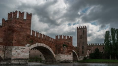 Timelapse of medieval stone bridge Ponte Scaligero Stock Footage