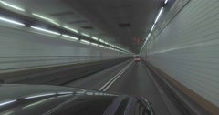 Interior POV Driving Inside Holland Tunnel Stock Footage