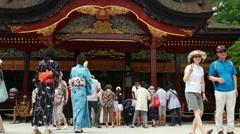 Dazaifu -  Visitors at Dazaifu Tenmangu Shrine. Stock Footage
