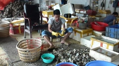 China fishermen in the seafood market stripping oyster shell Stock Footage