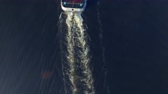 Tug pushing a barge on the river.  Aerial view. Stock Footage