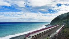 Taitung coastline with railway, Taiwan, Asia Stock Footage
