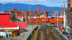 4K Industrial Port Cargo Shipping Facility, Train Tracks and Containers Stock Footage