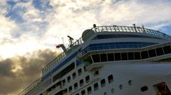 4K White Cruise Ship Liner, Sunset Dusk Clouds, Luxury Vacation Vessel, Bridge Arkistovideo