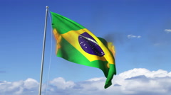 Flag of Brazil Burning, 3D rendering Stock Footage