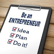 Be an entrepreneur clipboard Stock Illustration