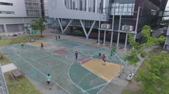 Aerial basketball court 4k Stock Footage