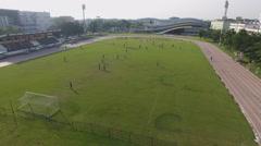 Aerial athletic field football 4k Stock Footage