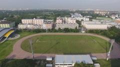 Aerial football soccer field 4k Stock Footage