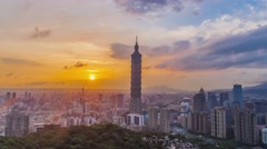 TAIPEI, TAIWAN - JANUARY 9: Modern office buildings in the Xinyi District includ Stock Footage