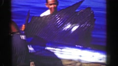 1952: Fishing boat catches marlin sailfish trophy sized billfish ACAPULCO, Stock Footage
