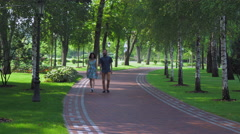 Young couple walking summer park with birches Stock Footage