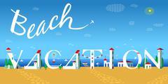 Beach vacation. Travel card. Artistic font Stock Illustration