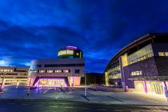 The Robert Gordon University (RGU) in Aberdeen during sunrise - stock photo