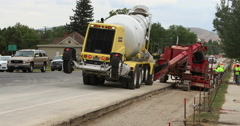 Concrete construction highway replacement DCI 4K fast - stock footage