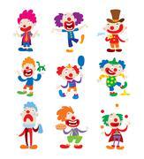 Clown character vector cartoon illustrations - stock illustration