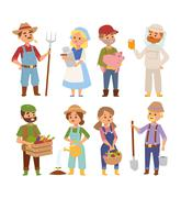 Farmers people vector characters - stock illustration