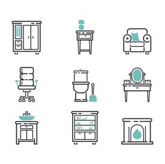 Furniture icons vector illustration Stock Illustration