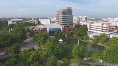 Aerial leafy university campus 4k Stock Footage