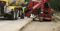 Construction cement truck filling equipment highway DCI 4K Stock Footage