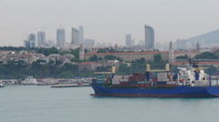 Large cargo ship in the Strait of Bosporus Stock Footage